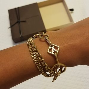 Louis Vuitton gold chain logo bracelet